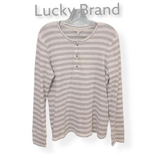 Lucky Brand Striped 3 Button Top Size Large